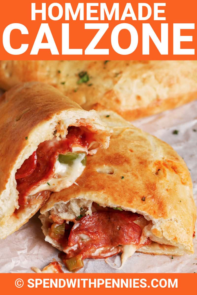 Calzone on parchment paper with writing