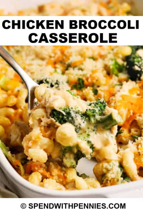 Chicken broccoli casserole being scooped out of a casserole dish.