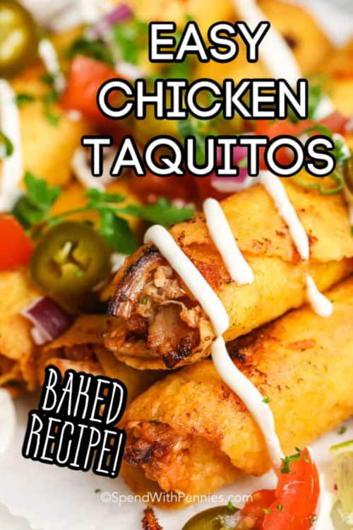 Chicken Taquitos with cilantro with writing