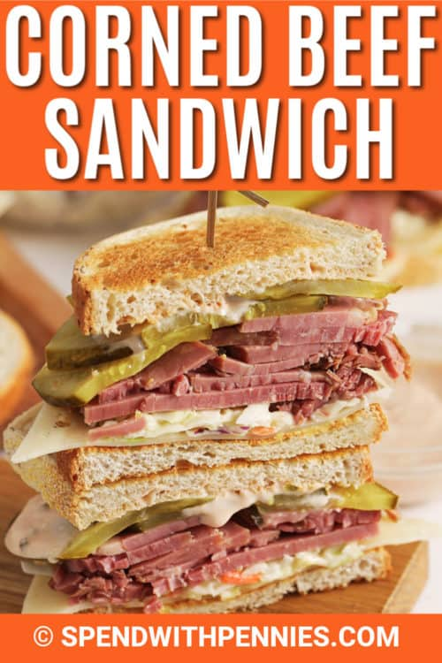 Corned Beef Sandwich with writing