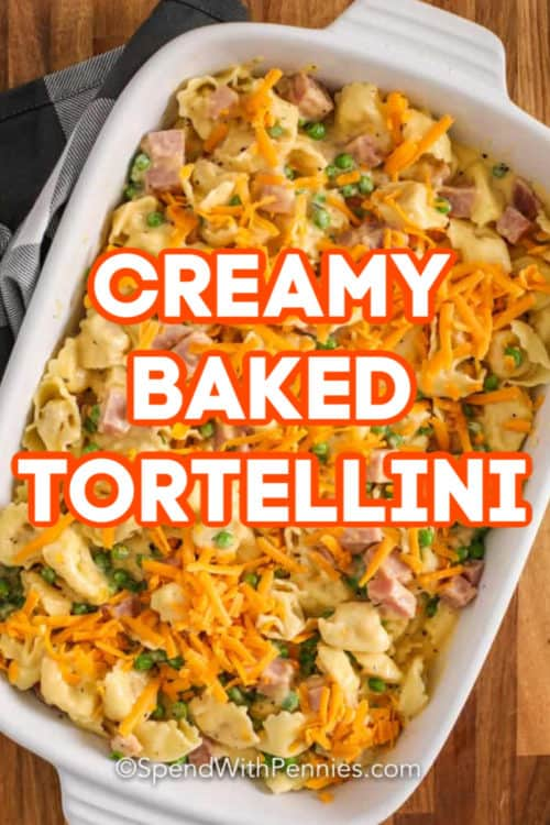 Overview of a casserole of creamy baked tortellini.