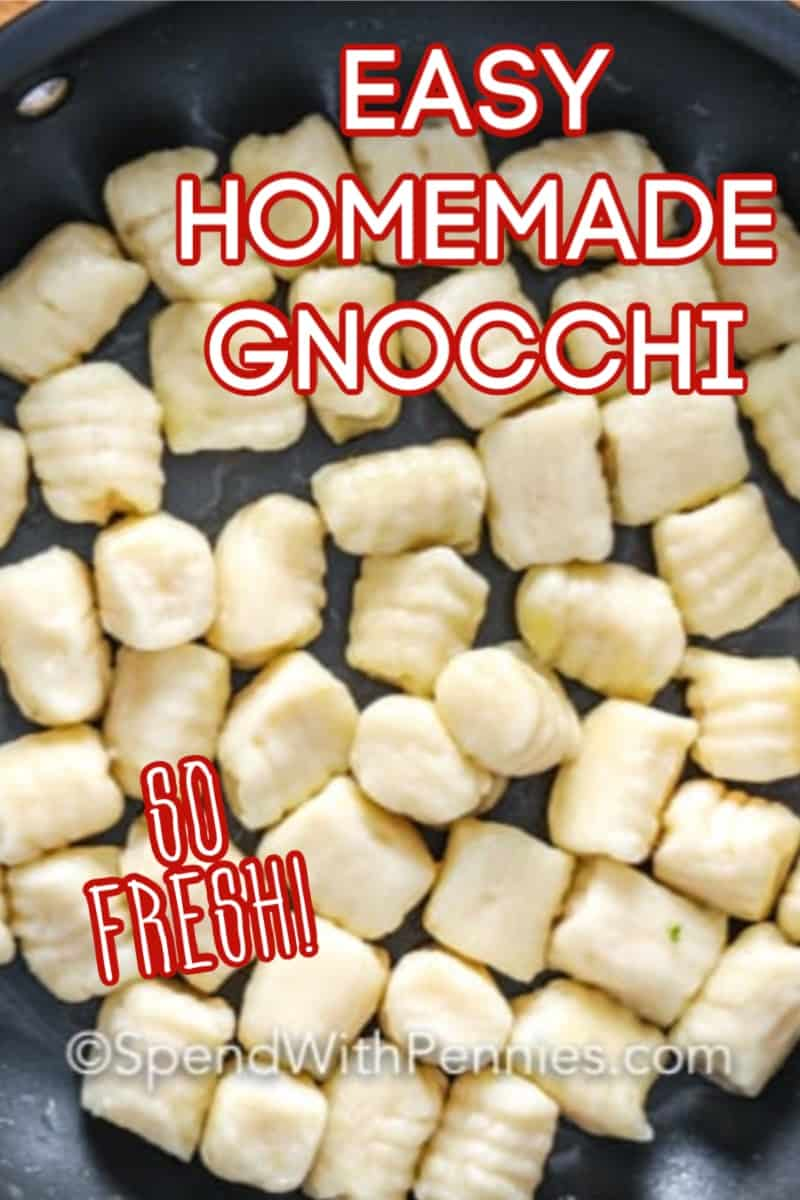 Homemade gnocchi with writing