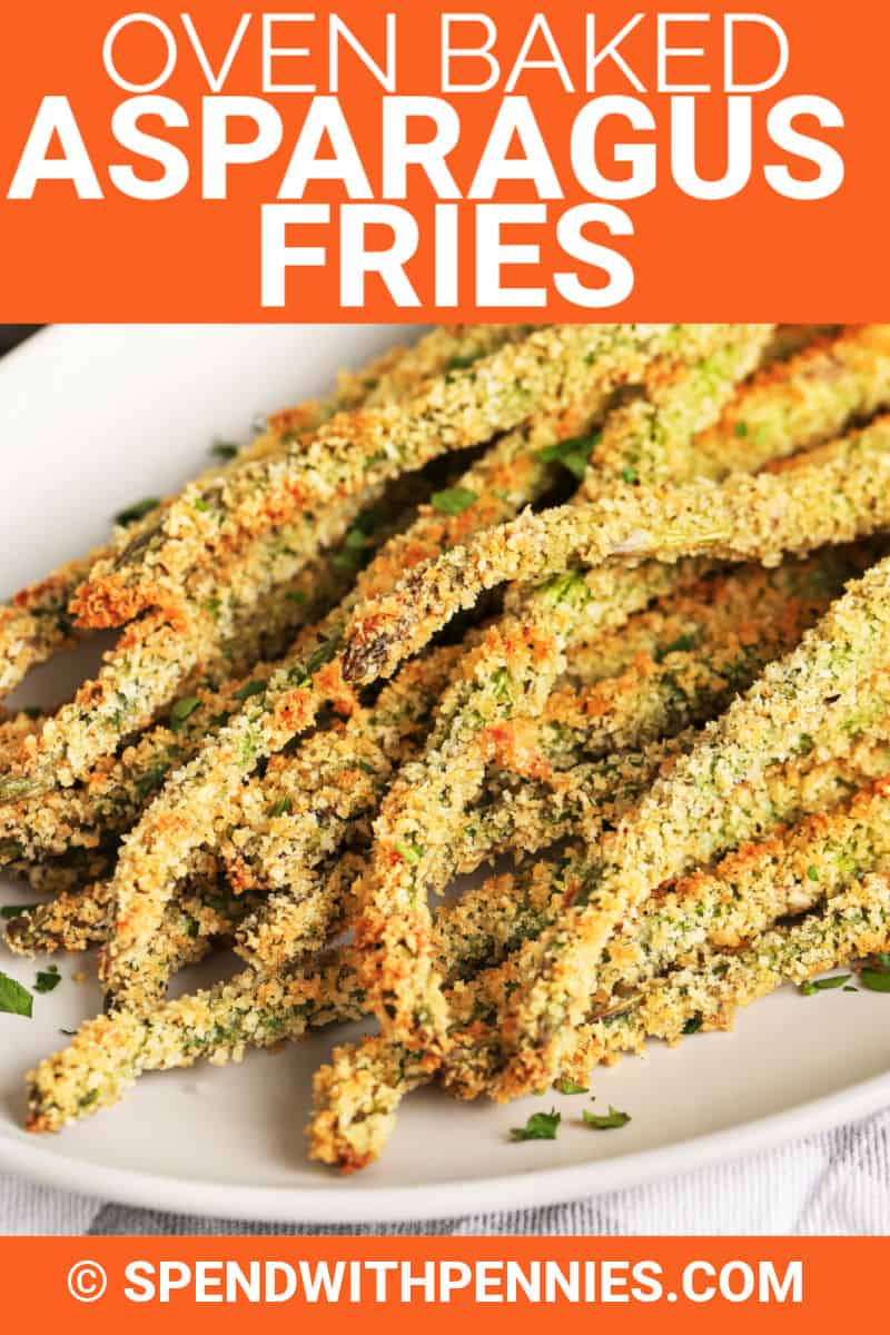 Breaded asparagus fries on a plate shown with a title