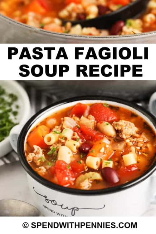 pasta fagioli in a bowl with parsley with a title
