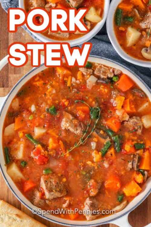 Pork Stew with thyme in a pot with writing