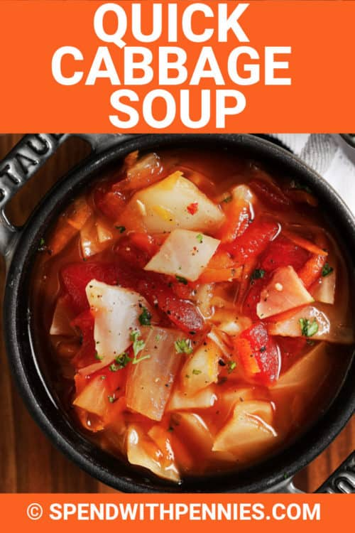 A serving of quick cabbage soup.