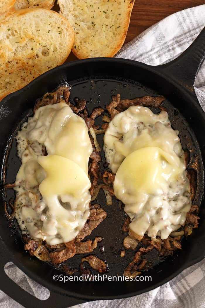 Meat & cheese for Philly Cheesesteaks in a pan