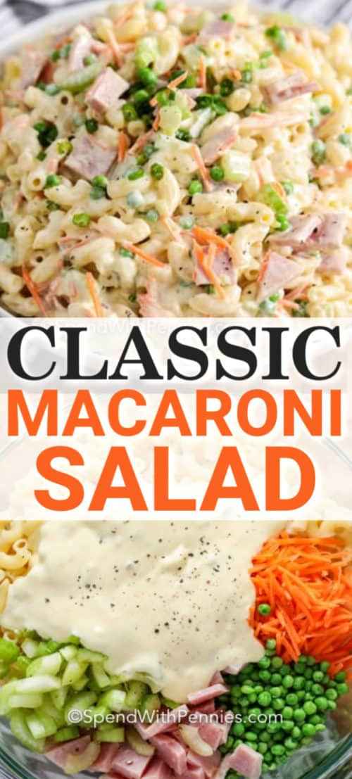 Classic Macaroni Salad with ingredients and a title