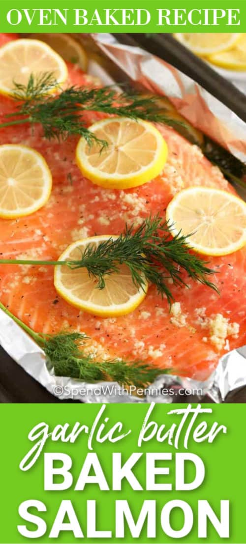 Garlic Butter Baked Salmon with a title
