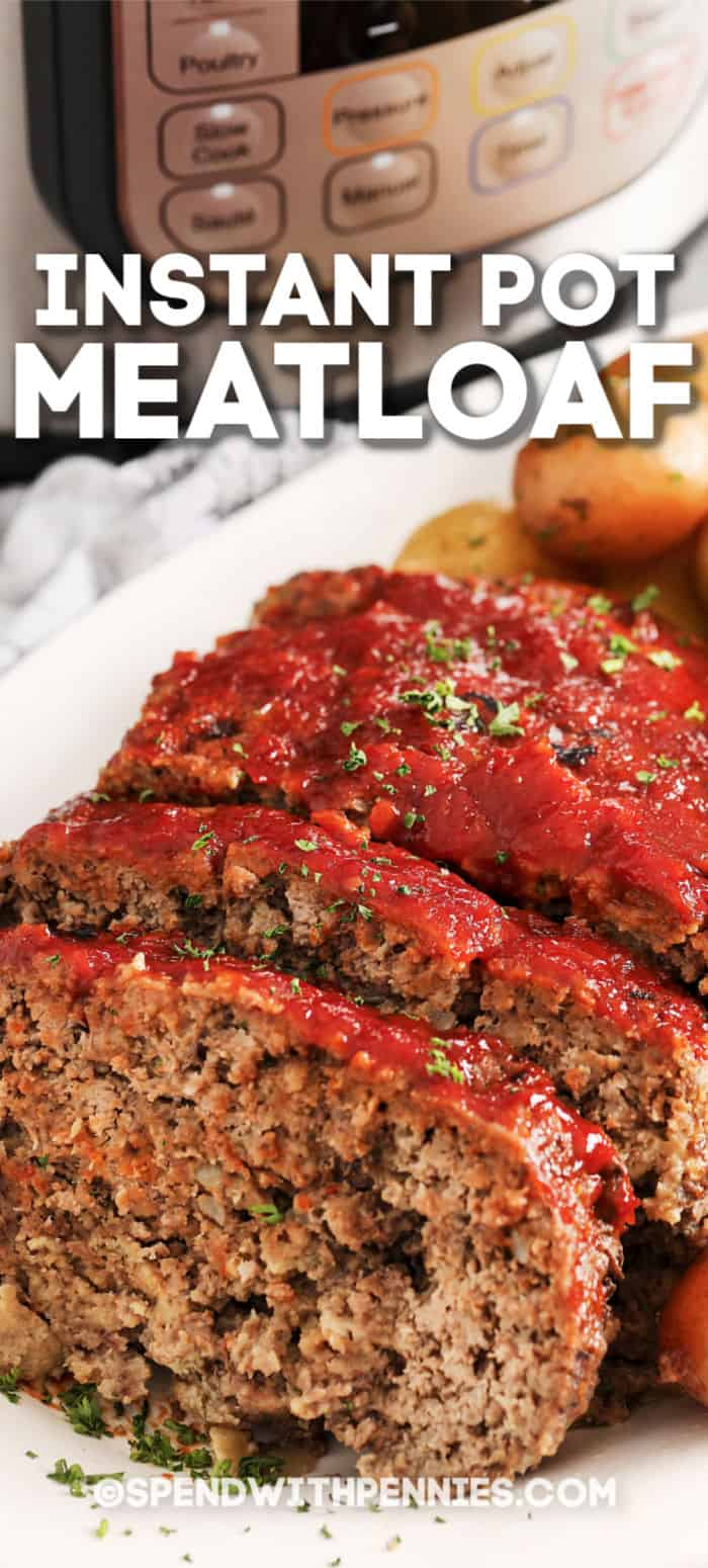 Close up of an Instant Pot meatloaf sliced on a serving tray.