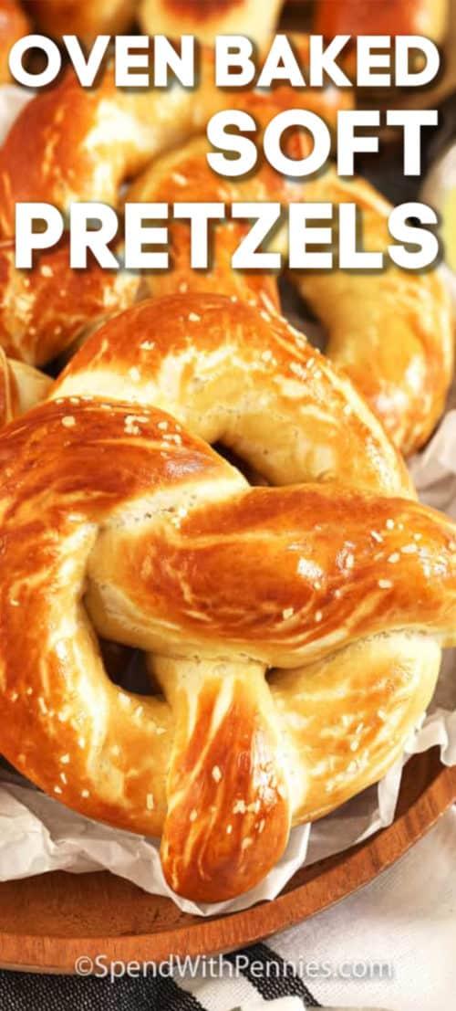 Oven baked soft pretzels in a basket.