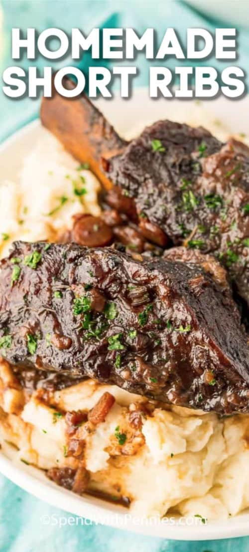 Braised short ribs served over mashed potatoes.