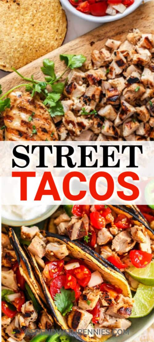 Street Tacos with cilantro with writing