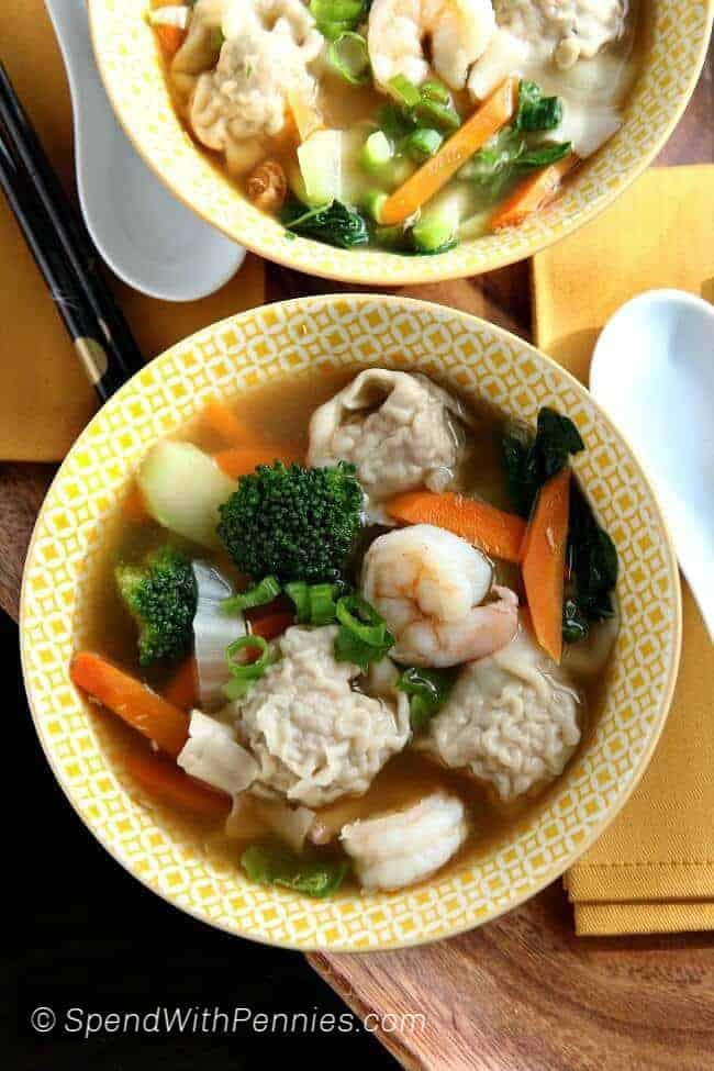 Homemade Wor Wonton Soup in two bowls