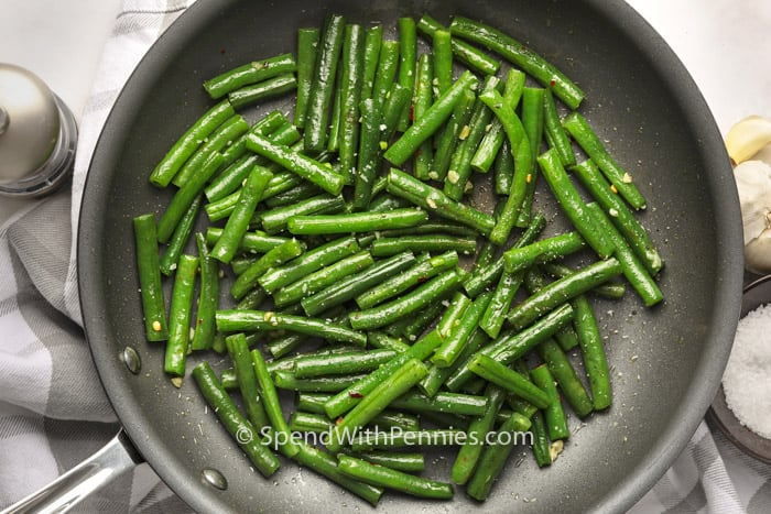 Sauteed Green Beans in a frying pan