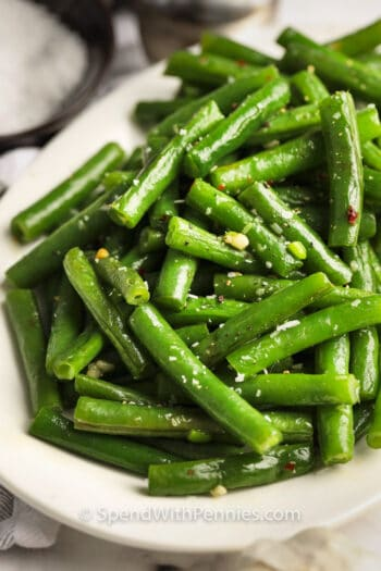 Salted Sauteed Green Beans on a plate