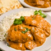 serving of Slow Cooker Butter Chicken with cilantro
