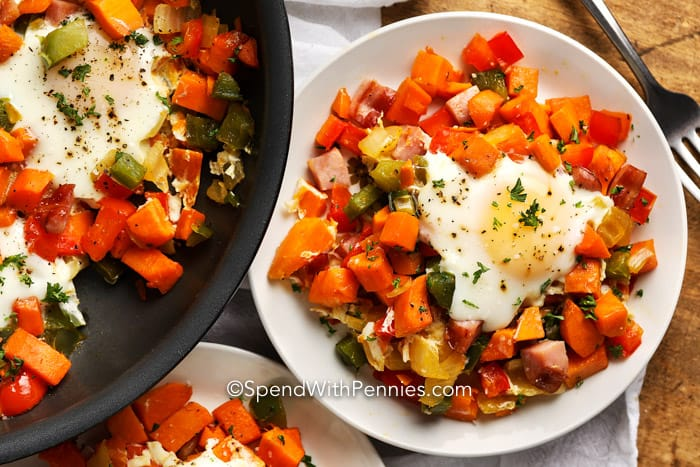 Overview of Sweet Potato Hash on a plate and in a pan.