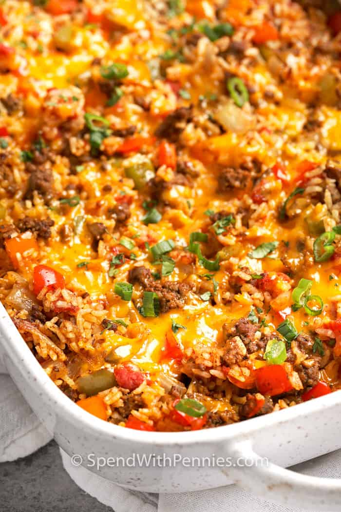 Taco Stuffed Pepper Casserole baked in a casserole dish with melted cheese
