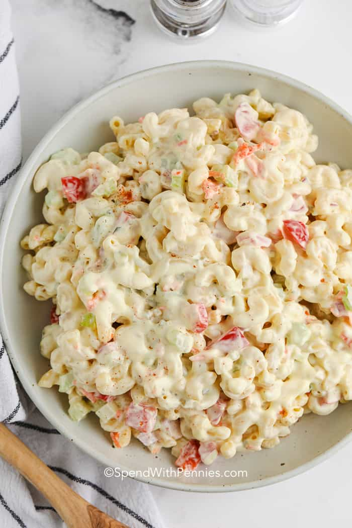 classic macaroni salad in a bowl