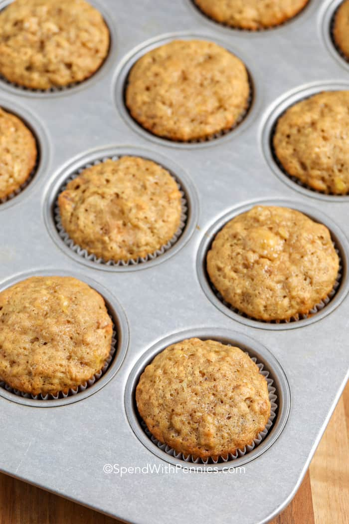 Banana Bread Muffins baked in a muffin pan