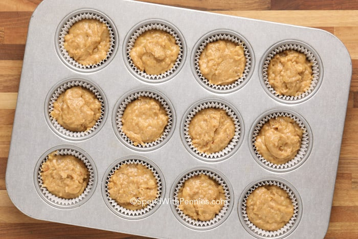 Banana Bread Muffin batter in a muffin pan