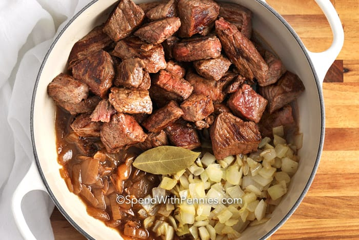 Beef and onions for Beef Tips & Gravy