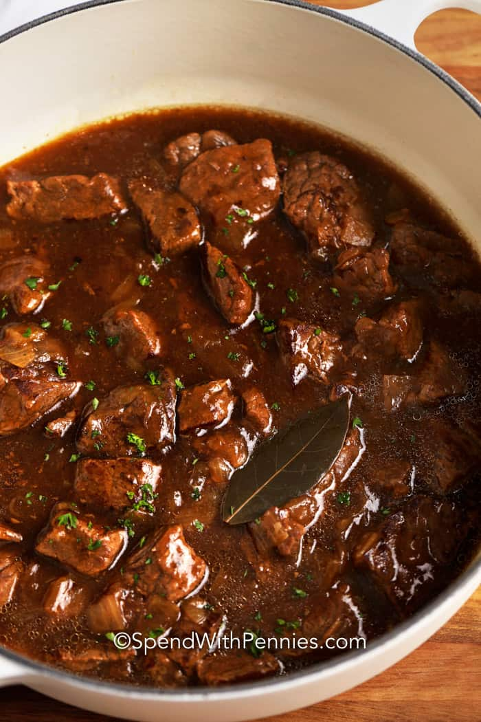 Beef Tips & Gravy in a pot