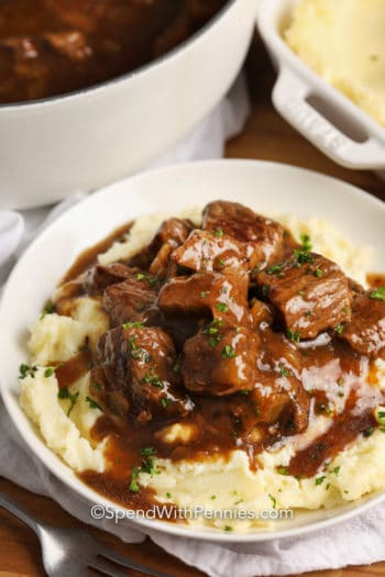 Beef Tips & Gravy served over mashed potatoes