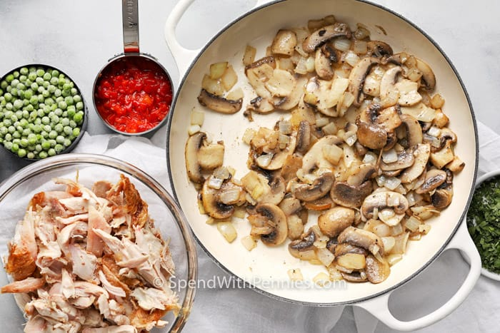 Chicken ala King ingredients ready to be cooked