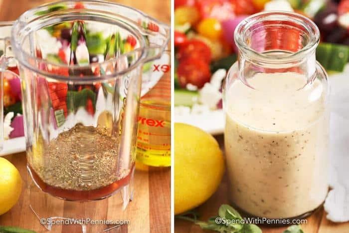Left image - Greek salad dressing ingredients. Right image - Greek salad dressing in a jar.