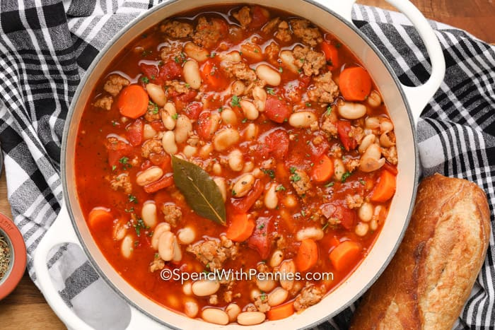 Italian Bean Soup with a bay leaf