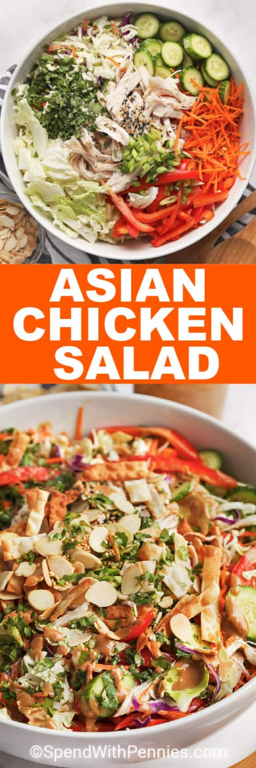 Asian Chicken Salad ingredients in a bowl and an overview of salad in a bowl with writing