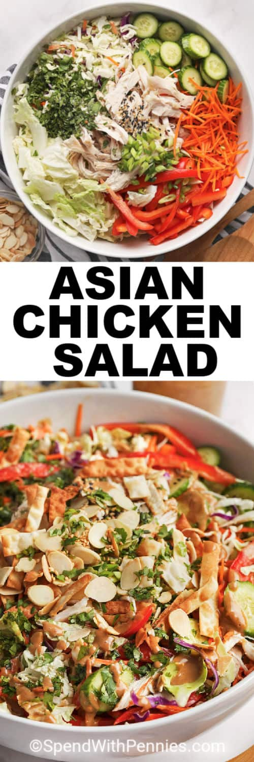 Asian Chicken Salad ingredients in a bowl and a close up if the salad with a title