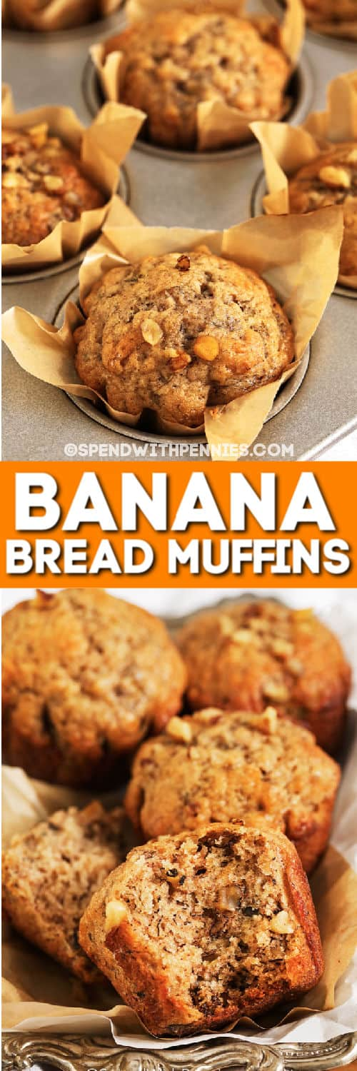Banana Bread Muffins in a pan and on a platewith writing