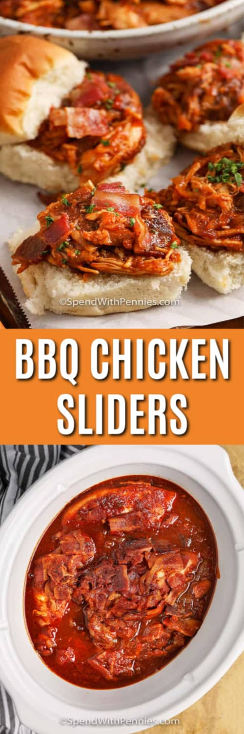 Top image - open face BBQ chicken sliders. Bottom image - BBQ chicken mixture in a crockpot.