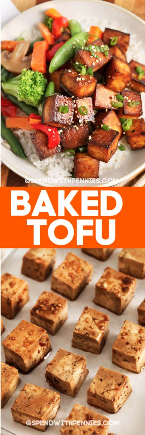 Top image - a serving of baked tofu. Bottom image - marinated tofu on a baking tray.