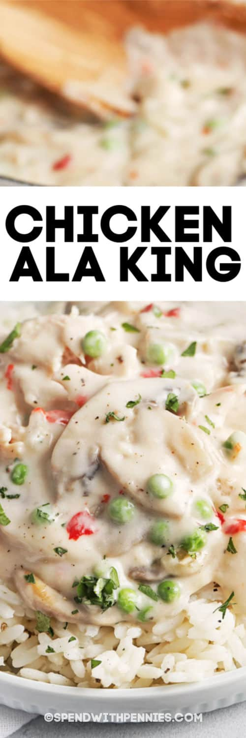 Chicken ala King with writing
