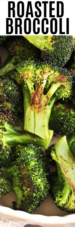 crisp roasted broccoli with writing