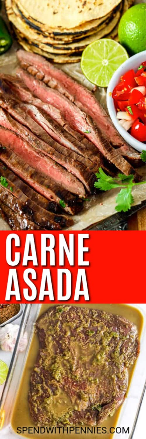 closeup of Carne Asada with a title