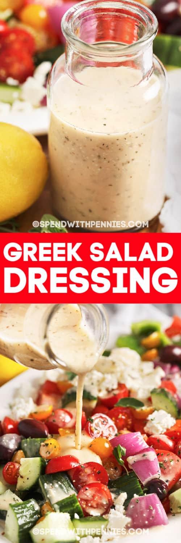 Top image - Greek salad dressing. Bottom image - Greek dressing being poured over a salad.