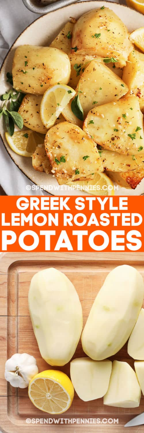Greek Style Lemon Roasted Potatoes on a plate and raw whole potatoes on a cutting board with writing