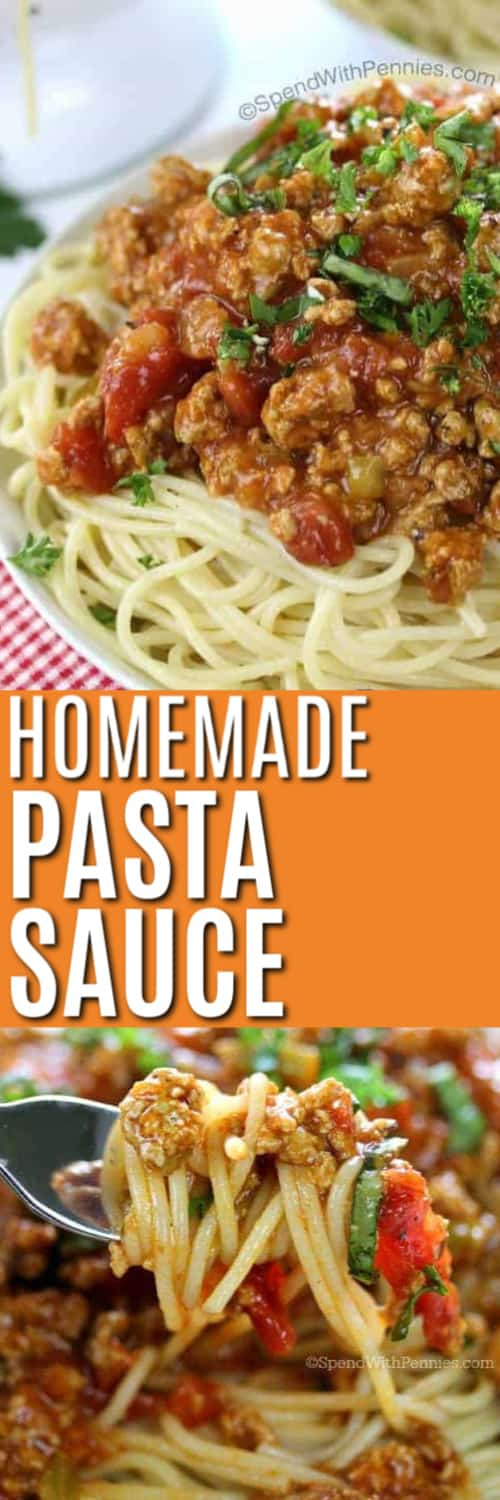 Pasta sauce and noodles on a plate and on a fork with writing