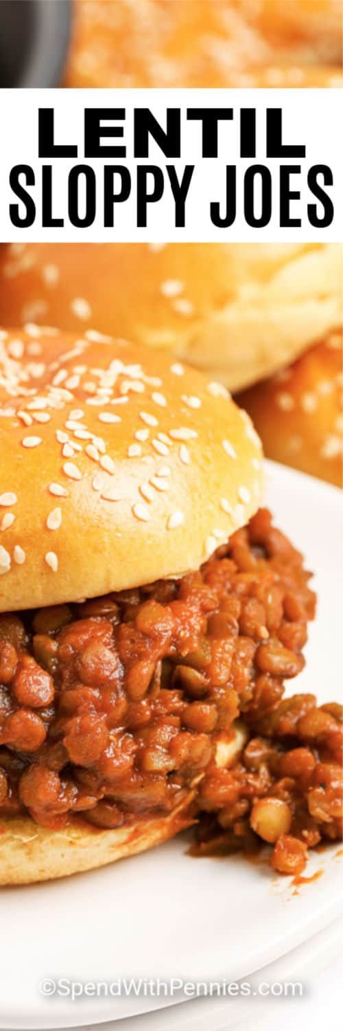 Lentil sloppy joes on a sesame seed bun with writing