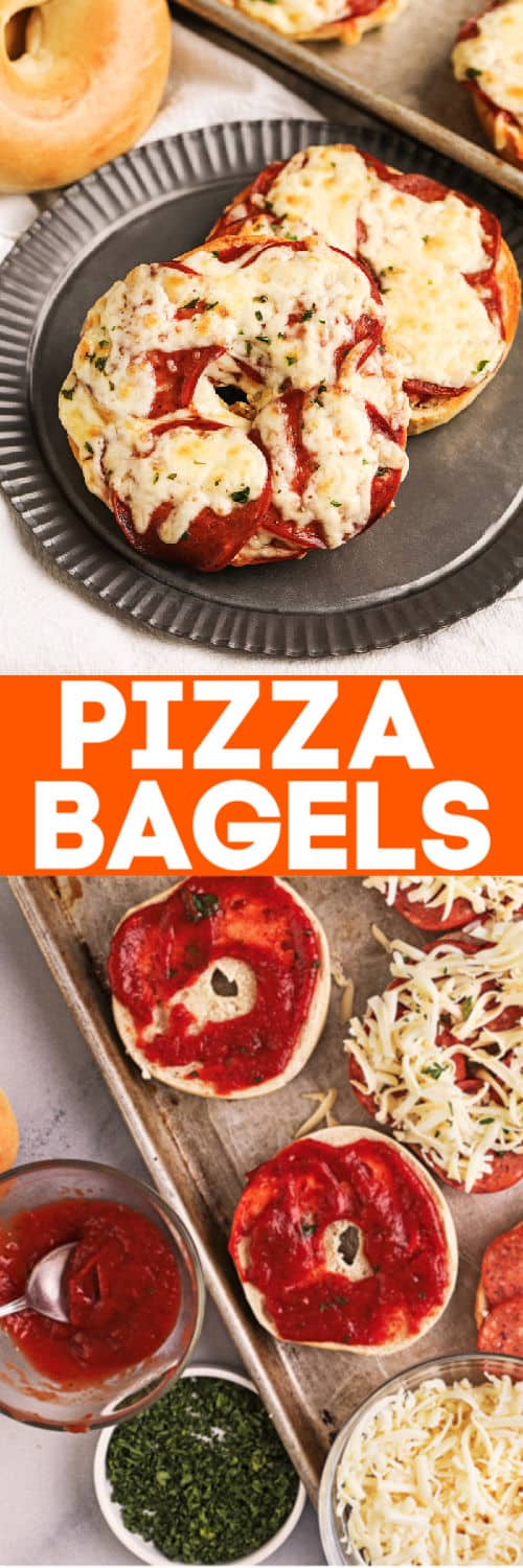 Pizza bagels and ingredients with writing