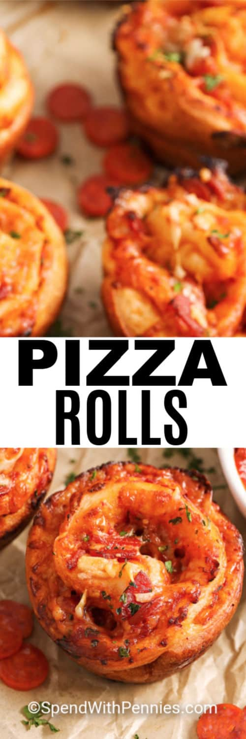 Pizza Rolls no parchment paper with writing