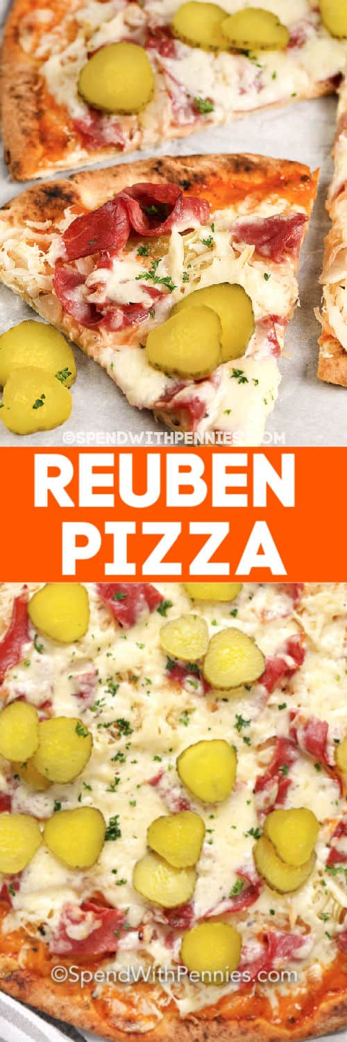 Reuben Pizza with writing