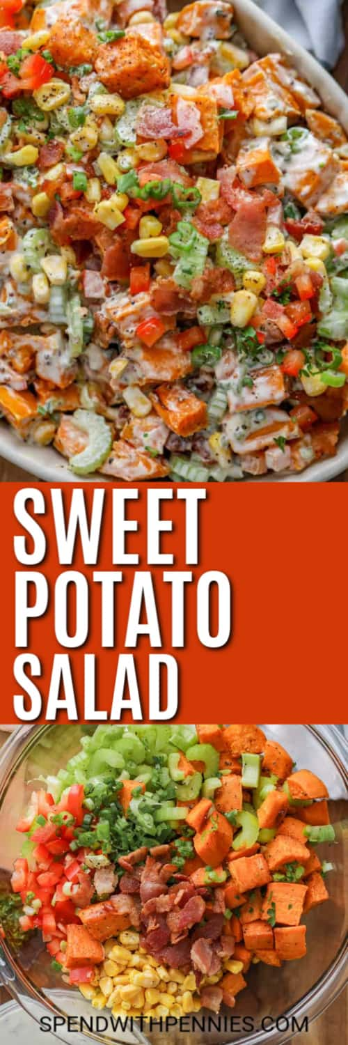 Sweet potato salad ingredients in a clear bowl and sweet potato salad in a white dish with the title