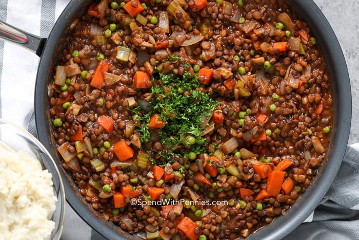 lentil shepherds pie ingredients in a pan