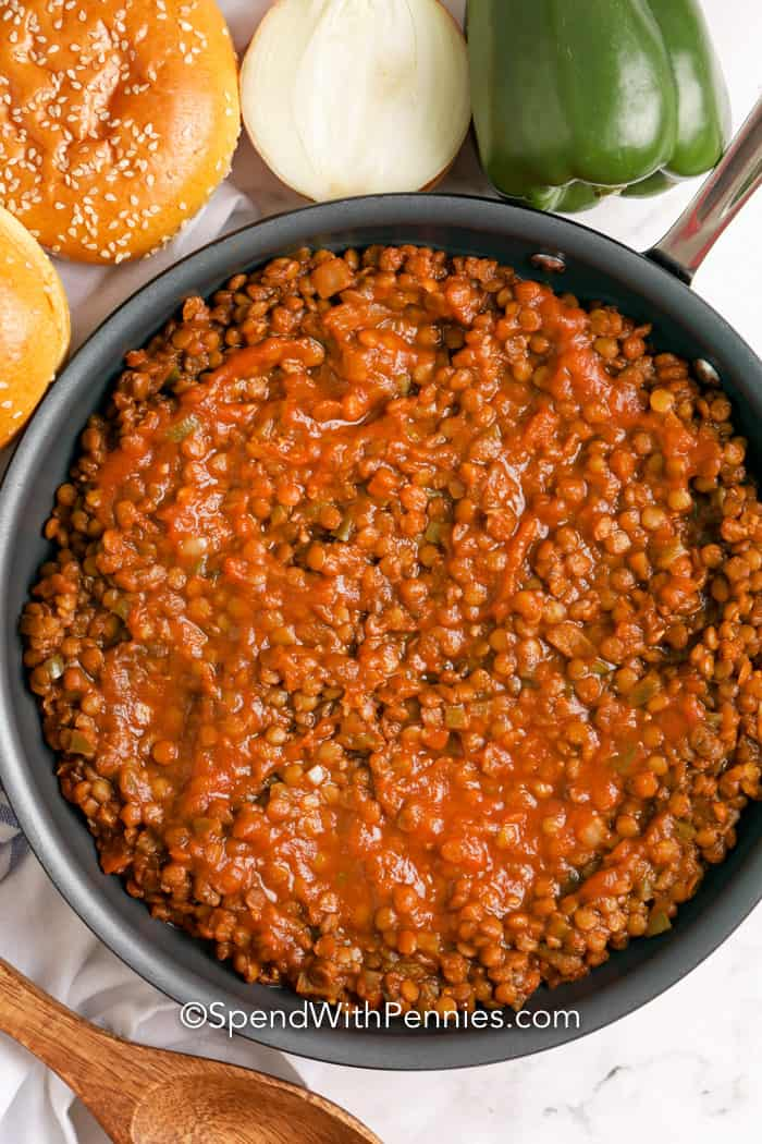 Lentil mixture prepared in a frying pan.
